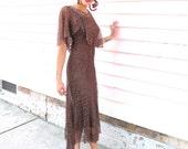 Dress 1930s Vintage 30s Brown Lace Flutter Gown S XS