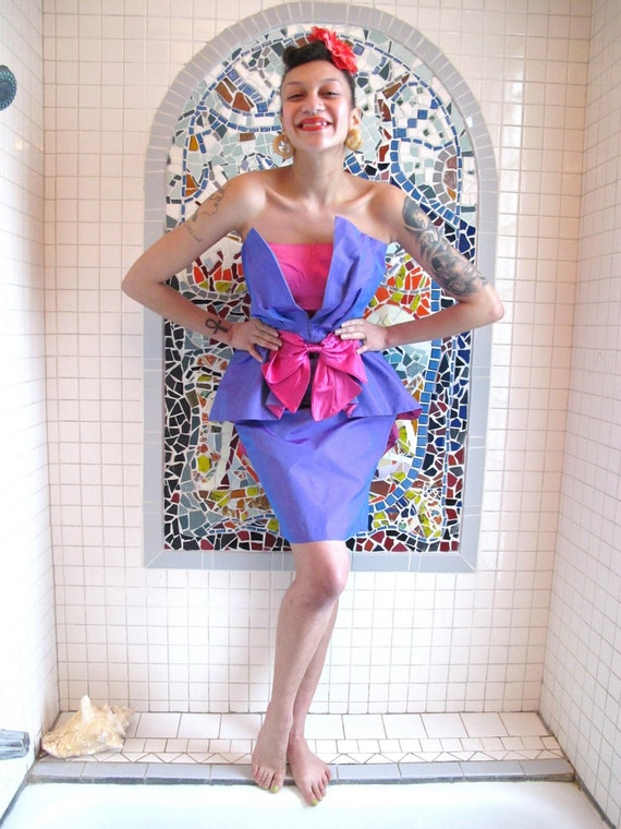 Purple & Pink Strapless Vintage 80s Tuxedo Prom Party Dress S M