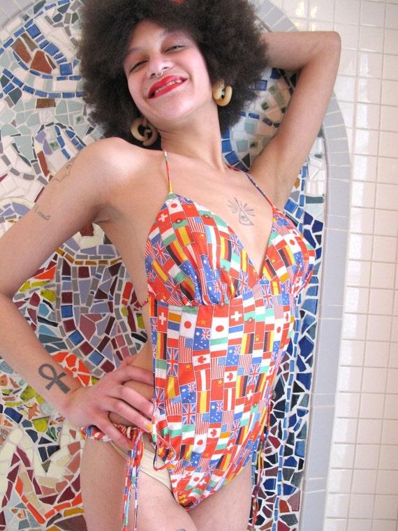 Swimsuit Vintage 1970s Novelty Print Flags M L