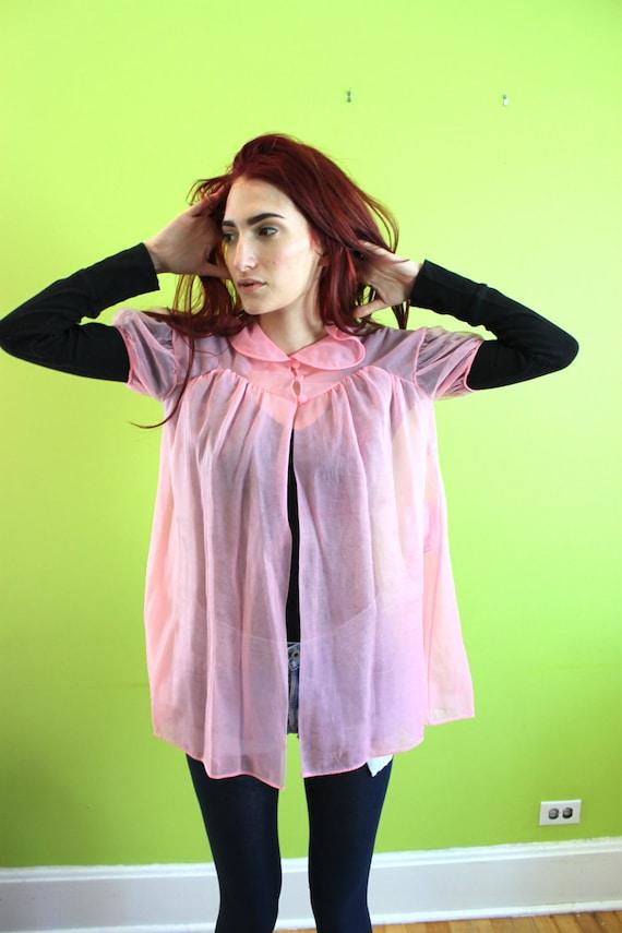 Top Blouse Bed Jacket Vintage 1950s 50s 1960s 60s S M  Bubble Gum Pink