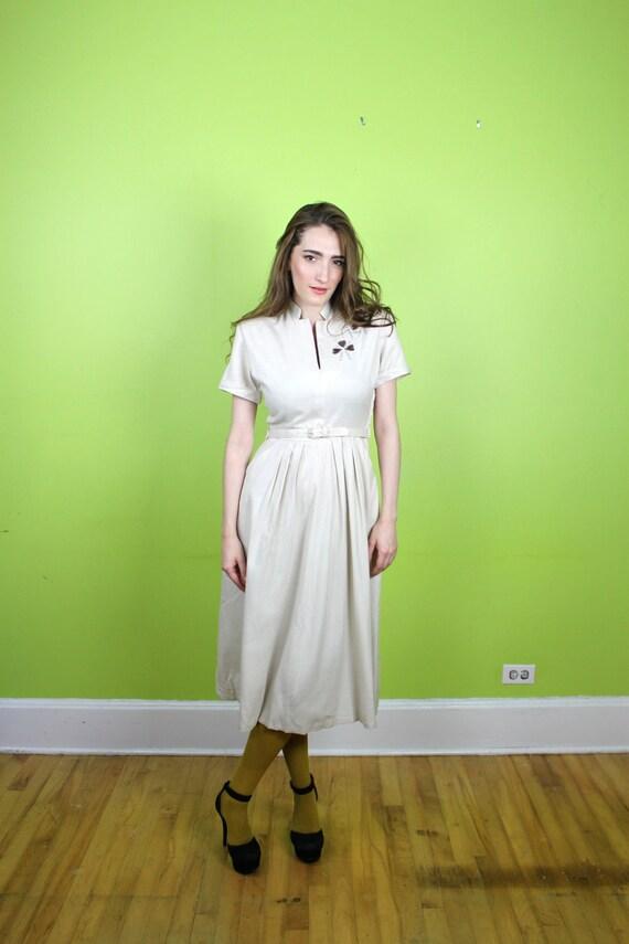Dress 1940s 1950s Rockabilly Linen Rhinestones Studded Full Skirt S M