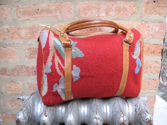 Purse Handbag Speedy Wool Leather Carpet Bag Vintage 1980s 80s Red Floral