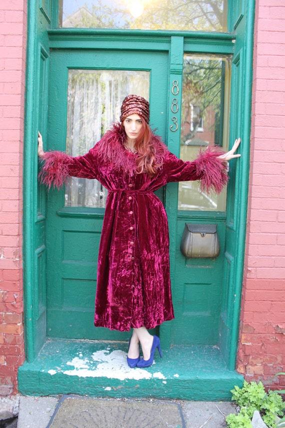 Dressing Gown Coat Vintage Velvet Feathers Robe Merlot Red S M L