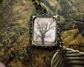 Long Bronze Leaf and Tree Necklace - FROM THE TREE OF LIFE - Altered Art - Ltd Ed No2