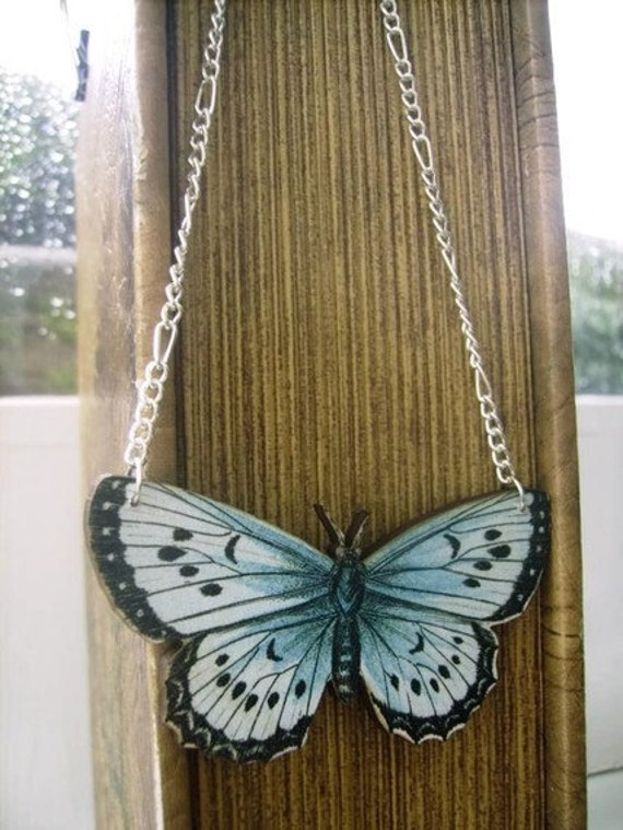 Wooden Butterfly Necklace - FLUTTERBY SPECIMEN 1 - silver plated chain