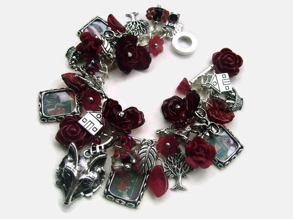 Red Riding Hood Red silver Charm Bracelet - WHAT BIG EYES You Have - Altered Art ooak - loaded