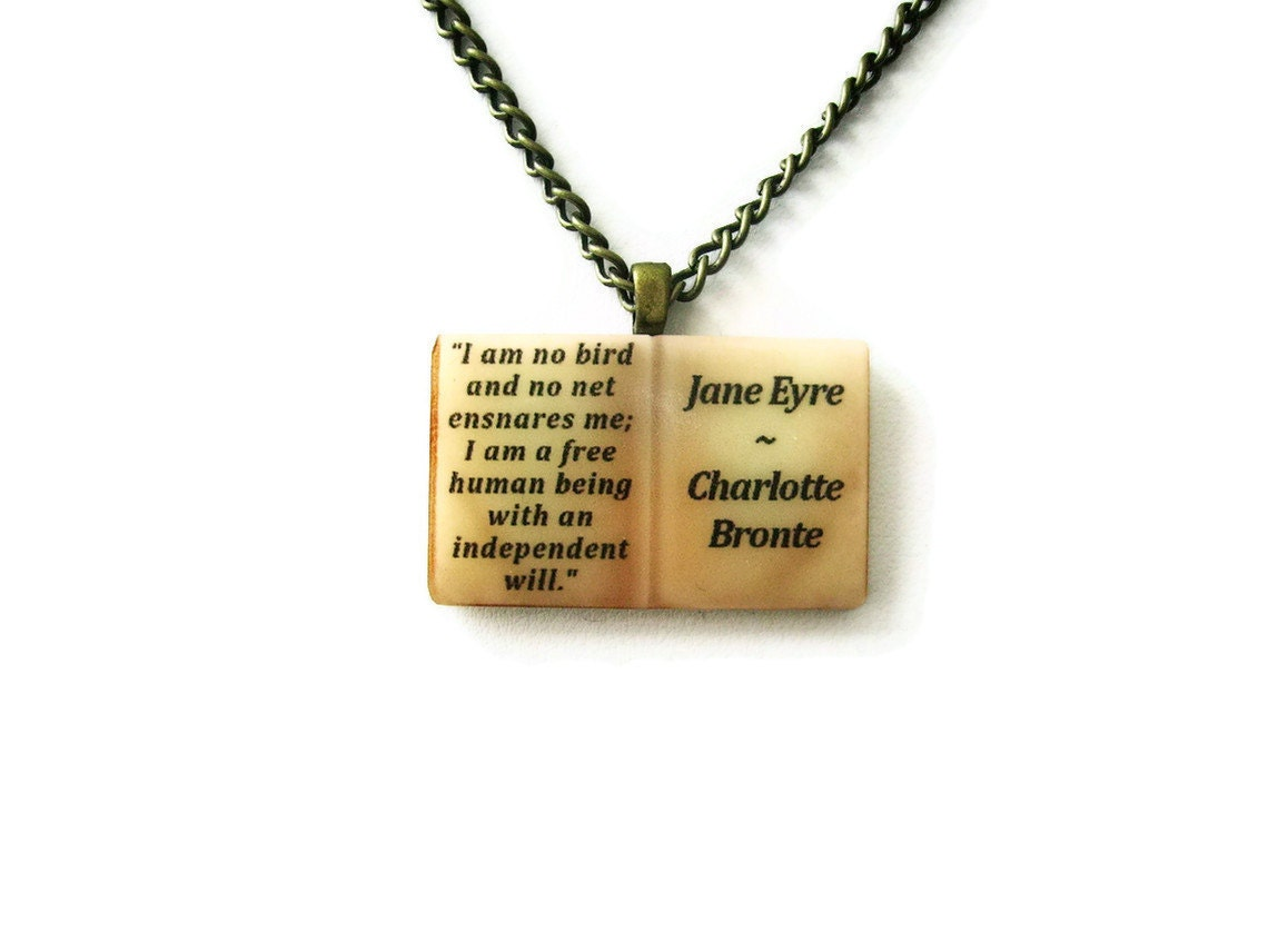 How To Make A Book Quote Pendant : Jane eyre charlotte bronte book necklace quote by alterederas