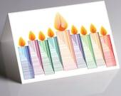 Hanukkah Holiday Greeting Card - Original drawing  - Lighted Menorah  - Folded Card - Personalize it