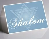 Hanukkah Holiday Greeting Card - Original drawing  - Shalom with the Star of David - Box of 10 - Folded Cards - Personalize it
