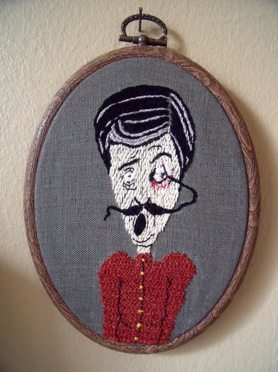 Embroidery man and moustache  Art