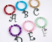 6 Custom Wine Charms: Alphabet Letter Initial Your Choice Fancy Font