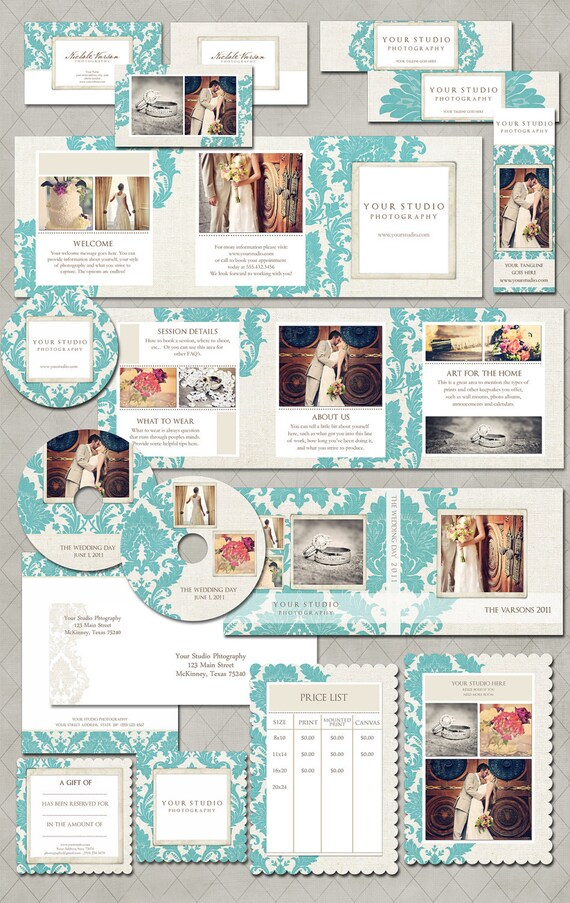 SALE Photography Marketing Set - Nichole Collection 13 Pieces: Accordion Brochure, Business cards, DVD Set, Gift Certificate