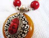 amber, coral, silver, pearl tibetan inspired necklace