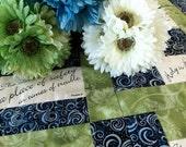 Lap quilt Bible Psalms scripture blue batik pale green floral