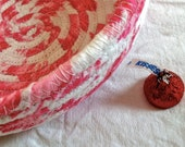 CUSTOM ORDER Coiled fabric bowl pinks white