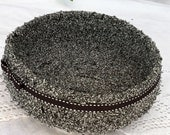RESERVED: Bowl Coiled fabric Black and White tweed