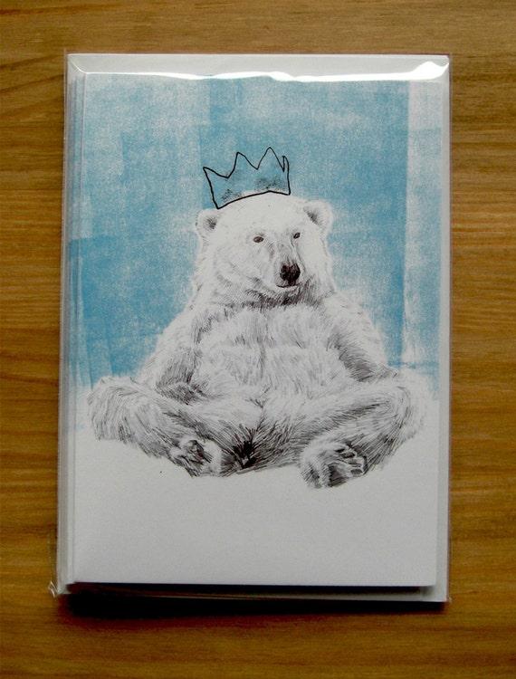 fred bear greetings card - by special guest Luke Waller - lazy poplar bear - pack of 5