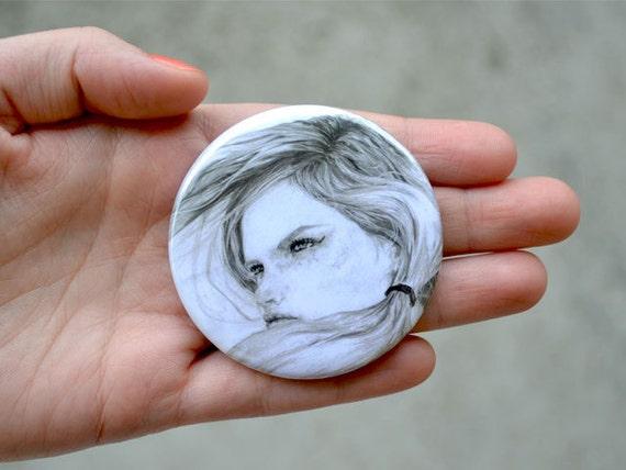 girls pocket mirror -  illustrated mini mirror - illustration