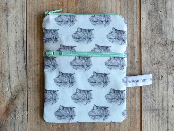cat pouch - multiple pocket purse - handmade
