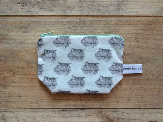 small cat coin purse - kitty pouch - handmade - SECONDS SALE