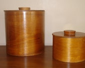 RESERVED Mid Century Teak Canisters/Sphinx cat