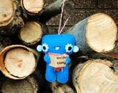 Caroling Monster Ornament in Blue