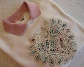 FREE SHIPPING - Battenburg Lace Heart Embellished Sweatshirt with Dusty Rose Collar - Large