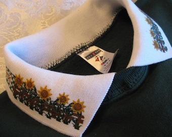 FREE SHIPPING - Sunflower Collar Embellished Forest Green JerZees Sweatshirt - 2X