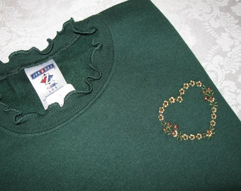 Sunflower Heart Embellished Forest Green Sweatshirt - Large