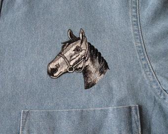 Horse Embroidered Denim Shirt - Medium