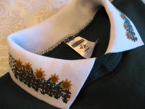 Sunflower Collar Embellished Forest Green JerZees Sweatshirt w/Ruffled Cuffs - Large