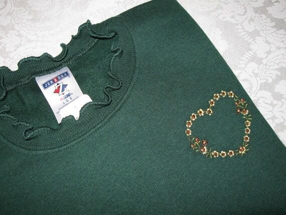 Sunflower Heart Embellished Forest Green Sweatshirt - 2X