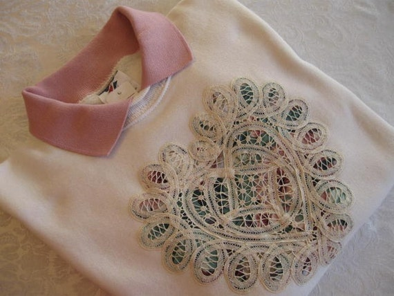 FREE SHIPPING - Battenburg Lace Heart Embellished Sweatshirt with Dusty Rose Collar - Large