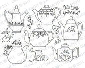 Digital Stamp / Embroidery Pattern - Tea Time Teapots