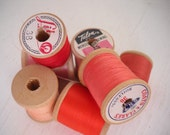 Red Shades to Pink 7 Vintage Wooden Spools of Thread