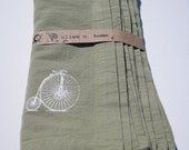Second Chance Placemats - 6 Penny Farthing Print on Sage Green - RESERVED