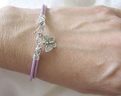Leather Cord Bracelet - Metallic Lavender with Butterfly Charm - FREE SHIPPING