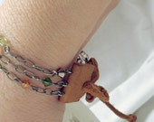 Leather, Metal & Beads Bracelet - FREE SHIPPING