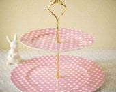 Dotty 2-tier Cake Plate - Baby Pink
