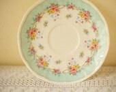 Vintage floral dessert plate - turquoise