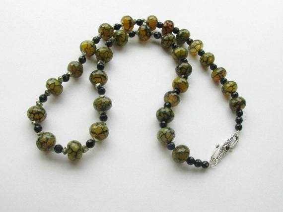 Mystic Dragon Veins Black Green Pyrite Necklace and Matching Earrings Set