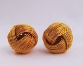 Big knot wire weave Round Gold tone cuff links