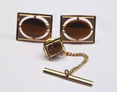 Swank Gold Tone with Brown Stone Cuff Links and Tie Pin Set