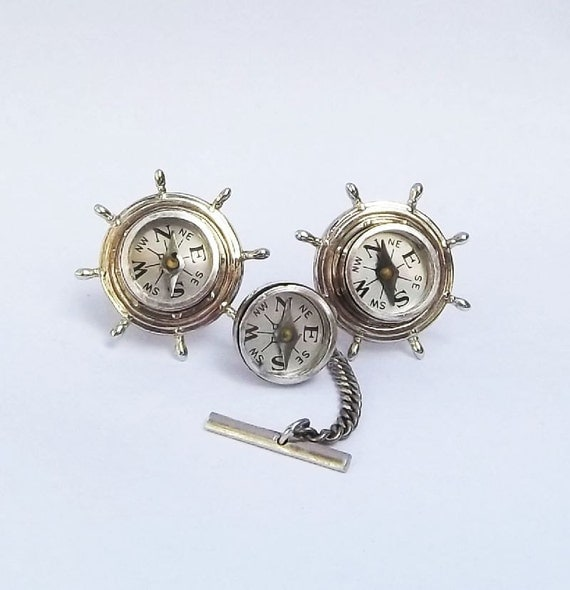 Maritime Compass in silver tone Cufflinks and tie pin set