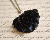 Romantic Black Flower Pendant - SALE