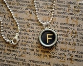 Antique Glass Typewriter Key Jewelry Necklace - Letter F - Black
