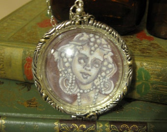 Hand Painted Cameo Locket Necklace - Bacchant - Artistry To Alchemy