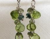 Peridot and Tourmaline Cluster Earrings