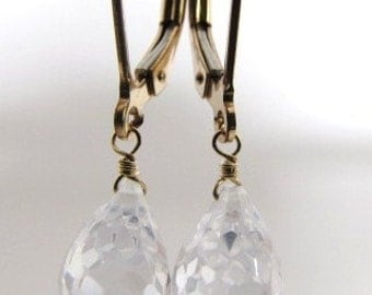 Crystal Clear Cubic Zirconium Earrings Gold Filled Drops