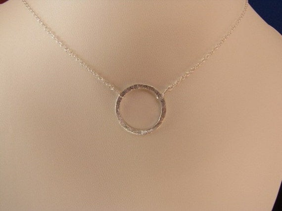 Simple Sterling Silver Circle Pendant Necklace